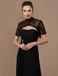 cheap -Short Sleeve Lace / Tulle Wedding / Party / Evening Women's Wrap With Beading / Appliques / Buckle Shrugs