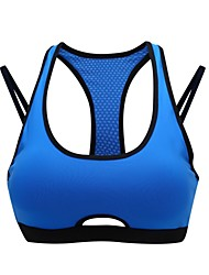 cheap -Racerback Sports Bra Padded Light Support For Yoga - Green / Blue Stretchy Women's Polyester, Nylon