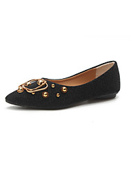 cheap -Women's Shoes PU Summer Comfort Flats Flat Heel Pointed Toe Buckle for Dress Black Silver Brown