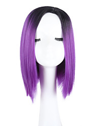 cheap -Synthetic Wig Straight Bob Haircut With Bangs Middle Part Ombre Hair Purple Black Capless Party Wig Lolita Wig Natural Wigs Synthetic Hair