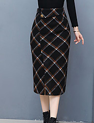 cheap -Women's Going out Knee-length Skirts,Vintage Bodycon Cotton Color Block Winter Spring/Fall