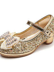 cheap -Girls' Shoes PU Spring Fall Flower Girl Shoes Novelty Comfort Flats Rhinestone Bowknot Pearl Buckle for Wedding Party & Evening Gold