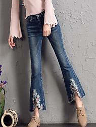 baratos -Mulheres Algodão Jeans Calças - Bordado