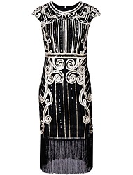 cheap -1920s The Great Gatsby Costume Women's Flapper Dress Black Silver Blue Vintage Cosplay Polyethylene Short Sleeves Cap