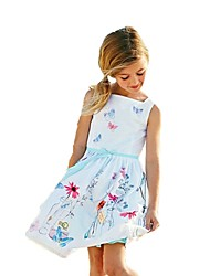 cheap -Girl's Christmas Birthday Going out Floral Galaxy Jacquard Dress, Cotton Acrylic All Seasons Sleeveless Vintage Cute Princess White