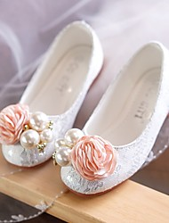 cheap -Girls' Shoes Lace Fabric Patent Leather Spring Summer Flower Girl Shoes Light Soles Flats Walking Shoes Bowknot Applique Sparkling