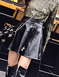 cheap -Women's Daily Mini Skirts,Casual Swing Linen Print Winter