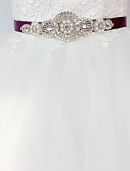 cheap -Satin/ Tulle Wedding Special Occasion Sash With Rhinestone Imitation Pearl Paillette Women's Sashes