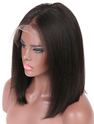 cheap -Human Hair Lace Front Wig Wig Peruvian Hair Yaki Straight Bob Haircut / Short Bob / Middle Part 130% Density With Baby Hair / Natural Hairline / Middle Part Natural Women's 8-14 Human Hair Lace Wig
