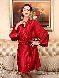 baratos -Mulheres Super Sensual Cetim & Renda Pijamas-Fashion,Sólido