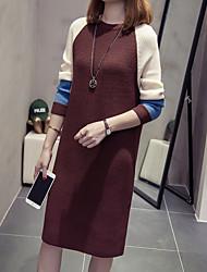 abordables -Femme Gaine Robe - Style artistique / Style classique, Couleur Pleine Mi-long