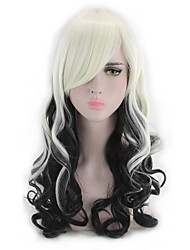cheap -Synthetic Hair Wigs Wavy Loose Wave Natural Hairline Highlighted/Balayage Hair Capless Party Wig Lolita Wig Cosplay Wig White Black