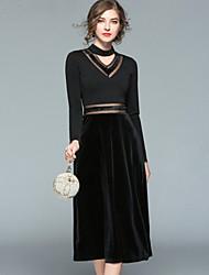 cheap -YHSP Women's Sophisticated Street chic A Line Sheath Swing Dress - Color Block, Mesh V Neck