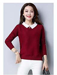 economico -Standard Pullover Da donna-Casual Tinta unita Rotonda Maniche lunghe Cashmere Nylon Inverno Spesso strenchy