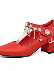 Недорогие -Жен. Обувь Дерматин Весна Осень Удобная обувь Оригинальная обувь Обувь на каблуках На толстом каблуке Круглый носок Искусственный жемчуг