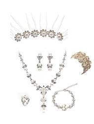 cheap -Women's Jewelry Set - Imitation Pearl, Imitation Diamond Flower European, Fashion Include Hair Sticks / Bridal Jewelry Sets White For Wedding / Party