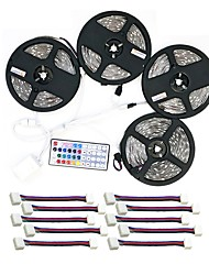 cheap -Waterproof 600 LEDs 4x 5M LED Strip Light 1 44Keys Remote Controller 1x 1 To 4 Cable Connector 10 Connectors RGB Cuttable Self-adhesive