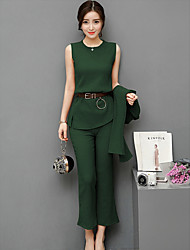 cheap -Women's Daily Casual Fall Blouse Pant Suits,Print Crew Neck Long Sleeve Polyester