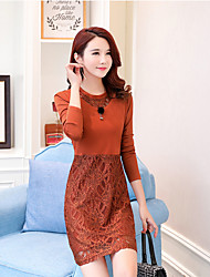 cheap -Women's Daily Casual Lace Dress,Solid Round Neck Above Knee Long Sleeve Silk Winter Fall High Waist Micro-elastic Thick