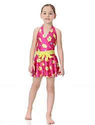 cheap -Girls' Floral Swimwear, Nylon Lycra Purple Fuchsia