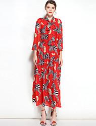 abordables -Mujer Boho Corte Swing Vestido Floral Escote Chino