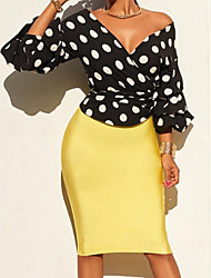 cheap -Women's Daily Simple Spring Blouse,Solid Polka Dot Deep V Long Sleeve Cotton Polyester
