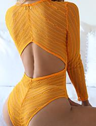 abordables -Mujer Teddy Ropa de dormir,Escote en V Profunda Sólido-Fino Licra Negro Rojo Rosa Amarillo
