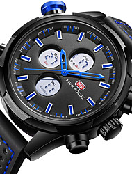 cheap -MINI FOCUS Men's Wrist Watch Japanese LCD / Dual Time Zones / Casual Watch Genuine Leather Band Luxury / Casual Black / Stainless Steel