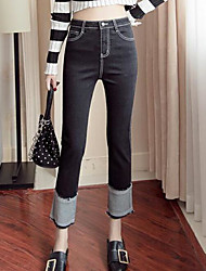 cheap -Women's Mid Rise Micro-elastic Jeans Pants,Simple Jeans Color Block