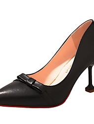 cheap -Women's Shoes PU Spring Fall Comfort Heels High Heel Pointed Toe for Casual Pink Beige Black