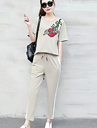 economico -Per donna T-shirt Fantasia floreale Frasi e citazioni Pantalone