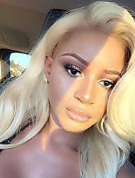 cheap -Guanyuwigs® 3Bundles Peruvian Body Wave With one Ear To Ear 13*4 Lace Frontal  #613 Blonde Hair