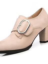 Недорогие -Жен. Обувь Замша Нубук Весна Осень Модная обувь Удобная обувь Ботинки На толстом каблуке Круглый носок Ботинки для Черный Миндальный