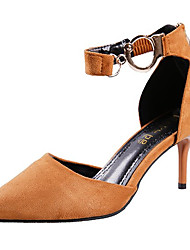 cheap -Women's Shoes PU Spring Fall Comfort Heels High Heel for Casual Black Brown Red