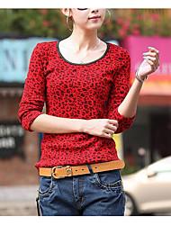 preiswerte -Damen Leopard Street Schick Ausgehen T-shirt,Rundhalsausschnitt Langärmelige Polyester