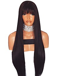 cheap -Luffy Unprocessed 8-20 Inch Pre Plucked Brazilian Human Hair Silk Straight 13*6 Lace Front Wig With Bangs Straight Front Lace Wig with Bleached Knot