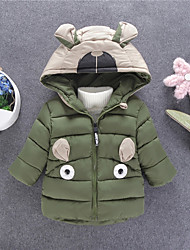 cheap -Boys' Daily Going out Color Block Bear 3D Cartoon Down & Cotton Padded,Polyester Silk Cloth Long Sleeves Cute Casual Cartoon Army Green