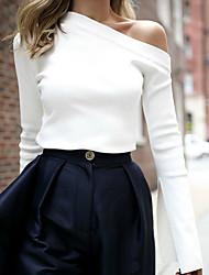 abordables -Tee-shirt Femme, Couleur Pleine Couleur unie / Printemps