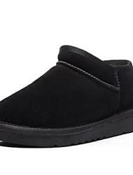 Недорогие -Жен. Обувь Шерсть Полиуретан Зима Осень Удобная обувь Ботинки Плоские Круглый носок Закрытый мыс Ботинки для Повседневные Черный Серый