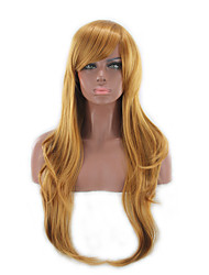 cheap -Synthetic Wig Curly Asymmetrical Haircut / With Bangs Synthetic Hair Natural Hairline Brown Wig Women's Long Capless