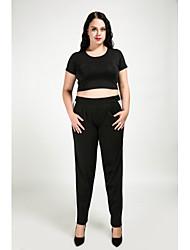 cheap -Cute Ann Women's Plus Size Harem Chinos Pants - Color Block Patchwork