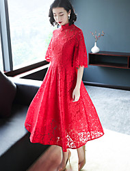 abordables -Mujer Tejido Oriental Vaina Vestido Un Color Escote Chino