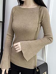 Недорогие -Жен. Длинный рукав Пуловер - Однотонный Вырез лодочкой / Осень / Зима / Flare рукавом