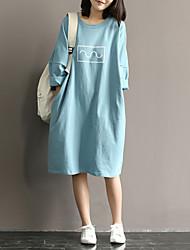 abordables -Femme Manche Chauve-souris Ample Robe - Imprimé