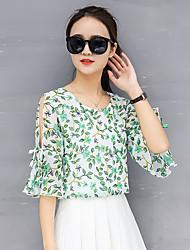 Недорогие -женская боховая пуховая рукавная полиэфирная свободная блуза - цветочная, основная