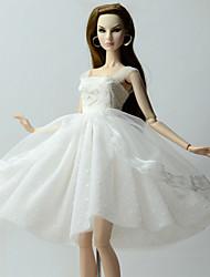 billige -Kjoler Kjole Til Barbiedukke Hvid Kjoler Til Pigens Dukke Legetøj