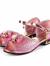 cheap -Girls' Shoes Leatherette Spring Fall Flower Girl Shoes Comfort Sandals for Casual Silver Blue Pink