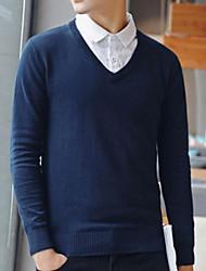 preiswerte -Herren Standard Pullover-Ausgehen Solide V-Ausschnitt Langarm Polyester Winter Herbst Dick Mikro-elastisch