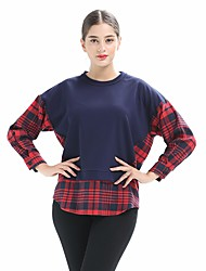 cheap -Women's Daily Vintage Shirt,Check Round Neck Long Sleeve Cotton