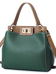 baratos -Mulheres Bolsas PU Tote Ziper para Escritório e Carreira Vermelho / Branco Leite / Verde Escuro